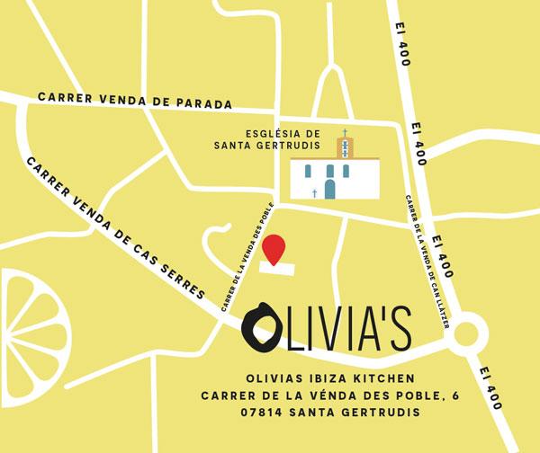 Map showing the restaurant's position close to the Esglesia de Santa Gertrudis