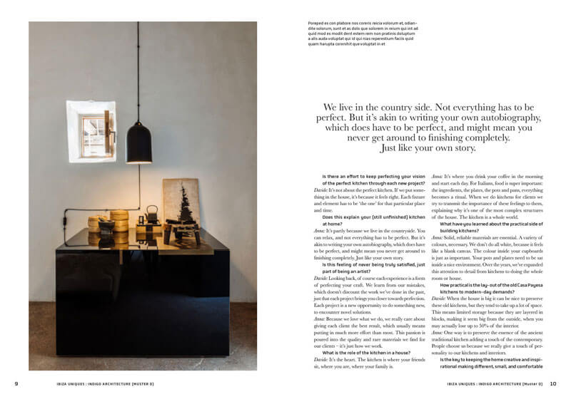 Double page from the book Island Uniques, showing a contemporary kitchen table by Indigo Architecture.