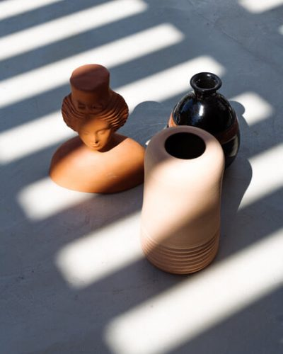 Ceramic vases and sculptures by local Ibizan artists.